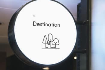 Free Minimalist Circular Sign Board Mockup in PSD