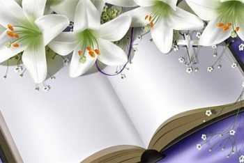Free Blank Book Plus Fresh Lilies Mockup in PSD