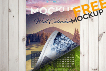 Free Wall Calendar PSD Mockup Download
