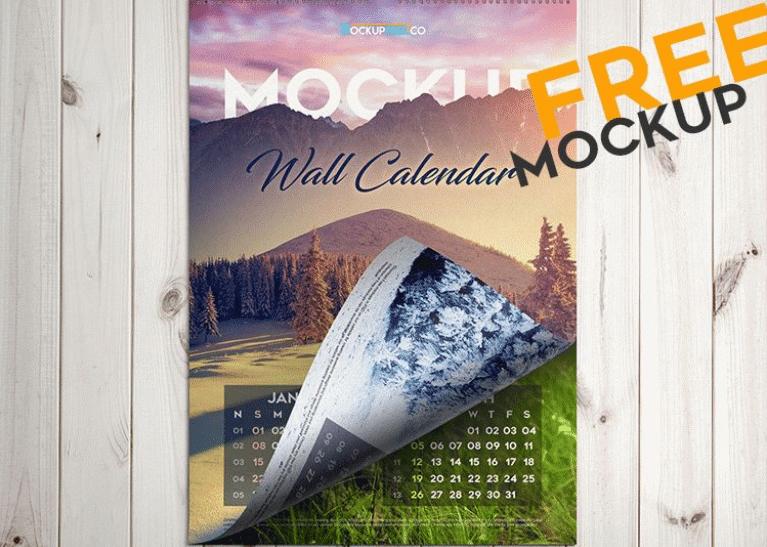free wall calendar PSD mockup