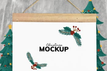 Beautiful Christmas Holiday Greeting Card PSD Mockup