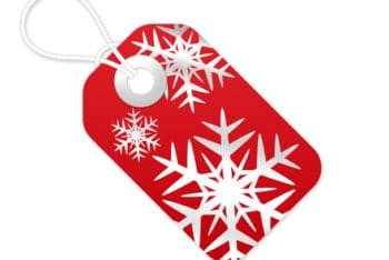 Free Red Plus White Christmas Tag Mockup in PSD