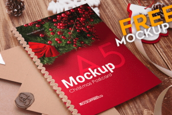 Design Beautiful Christmas Postcards with This Free PSD Mockup