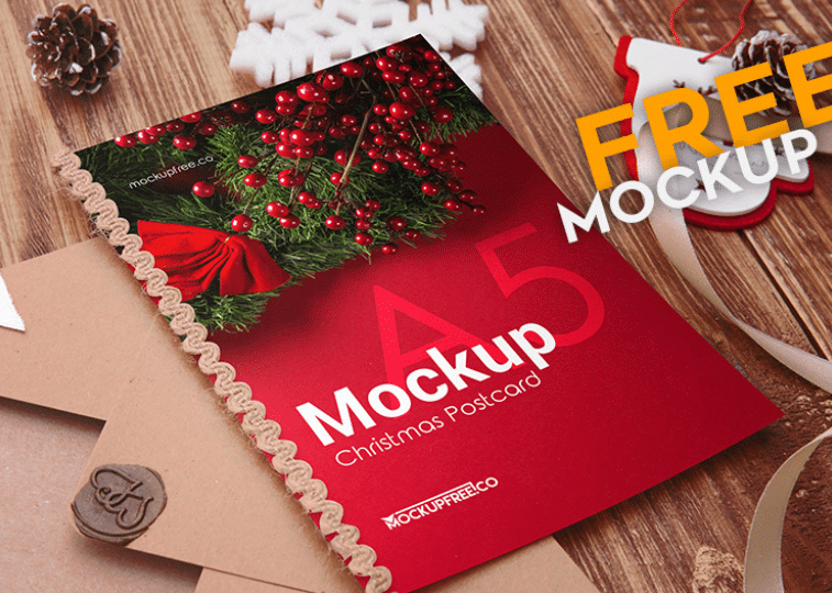 Free PSD Mockup for Christmas Postcard