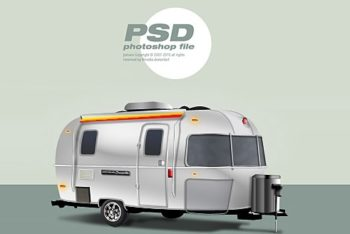 Free Classic Vacation Trailer Mockup in PSD