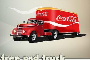 Free Coca Cola Trailer Truck Mockup in PSD