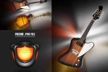 Free Cool Electric Guitar Design Mockup in PSD