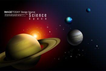 Free Solar System Planets Illustration Mockup