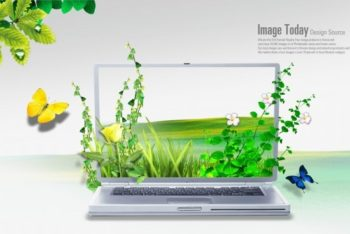 Free Creative Nature Laptop Mockup in PSD