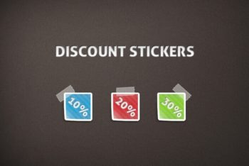 Free Small Cute Discount Stickers Mockup in PSD