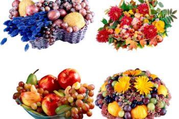 Free Fresh Fruit Basket Scene Mockup in PSD