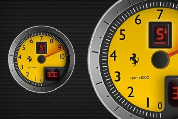 Free Race Car Tachometer Design Mockup in PSD