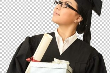 Free Graduating Female Student Mockup in PSD