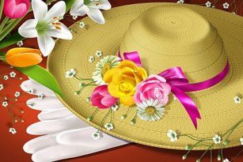 Free Lovely Flower Hat Design Mockup in PSD