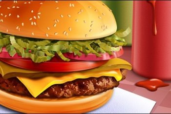 Free Tasty Hamburger Illustration Mockup in PSD