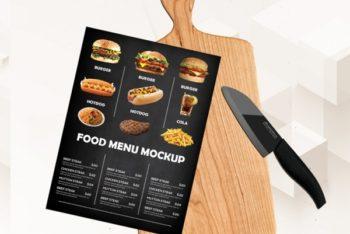 Free Food Menu Plus Cutting Board Mockup in PSD