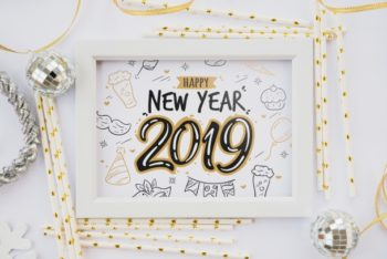 Free New Year Frame Design Mockup in PSD