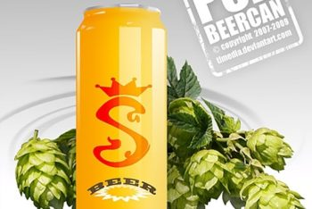 Free Organic Beer Can Brand Mockup in PSD