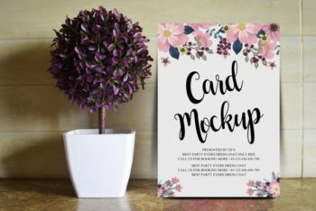 Floral Designed Wedding Card PSD Mockup – Beautiful Look Blends With Useful Features