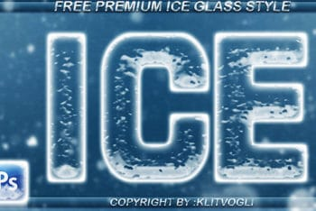 Free Chilling Ice Text Design Mockup in PSD