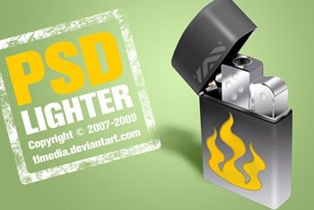 Free Awesome Lighter Illustration Mockup in PSD