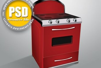 Free Modern Oven Stove Illustration Mockup