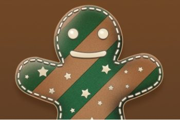 Free Cute Gingerbread Man Illustration Mockup in PSD