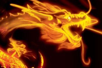 Free Golden Oriental Dragon Design Mockup in PSD