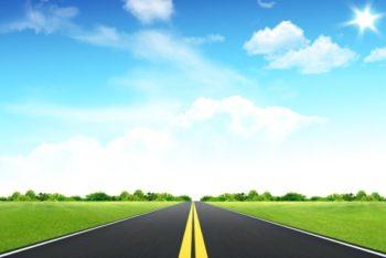 Free Open Road Plus Horizon Mockup in PSD