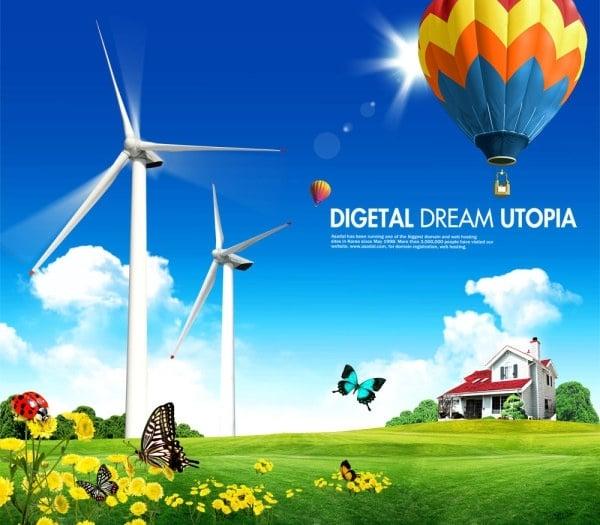 Digital Utopian Scene Plus Hot Air Balloon