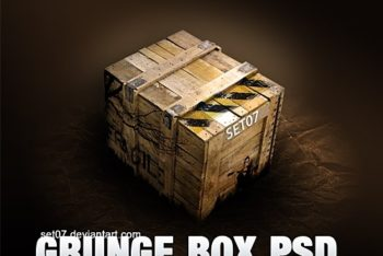 Free Grunge Crate Box Mockup in PSD