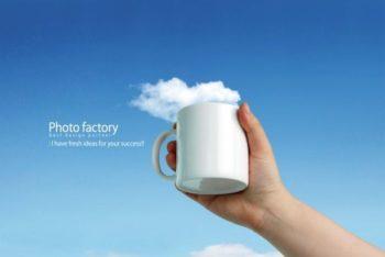 Free Creative Drinking Mug Ad Concept Mockup
