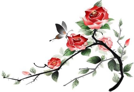 Handpainted Rose Plus Butterfly