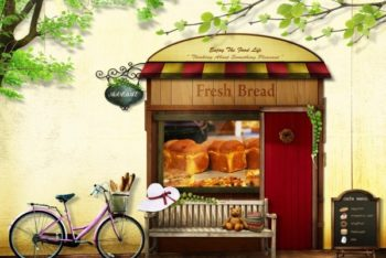 Free Fancy Bakery Promotion Concept Mockup
