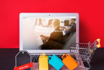 Free Laptop Plus Online Shopping Concept Mockup