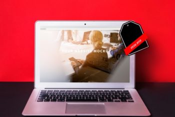 Free Discounted Laptop For Sale Mockup in PSD