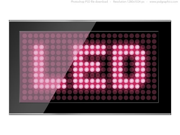 Black LED Screen Plus Pink Text