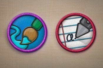 Free Merit Badge Design Mockup in PSD