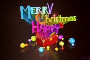 Free Colorful Christmas 3D Pop Art Mockup in PSD
