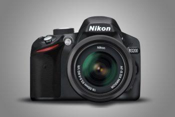 Free Nikon D3200 Camera Mockup in PSD