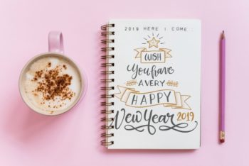 Free Cute Pink New Year Notebook Mockup in PSD