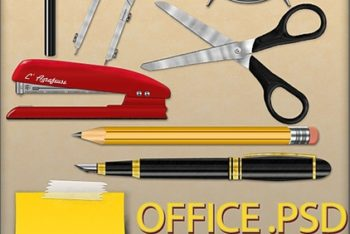 Free Assorted Office Tools Illustration Mockup in PSD