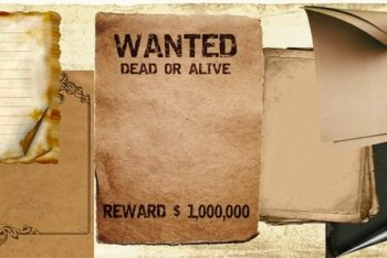 Free Vintage Wanted Poster Design Mockup in PSD