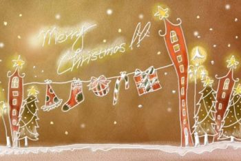 Free Handpainted Christmas Illustration Mockup in PSD