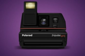 Free Old Polaroid Impulse Camera Mockup in PSD
