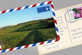 Free Simple Beautiful Postcard Mockup in PSD