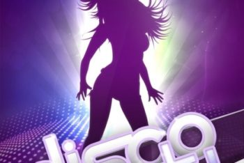 Free Disco Party Poster Design Mockup in PSD
