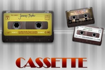 Free Old Vintage Cassette Tapes Mockup in PSD