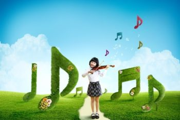 Free Prodigy Girl Plus Violin Mockup in PSD