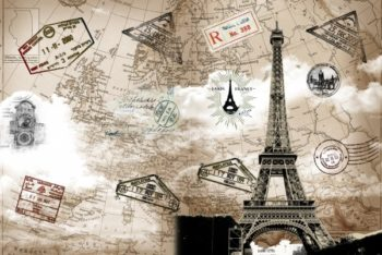 Free Retro Eiffel Tower Tourism Mockup in PSD